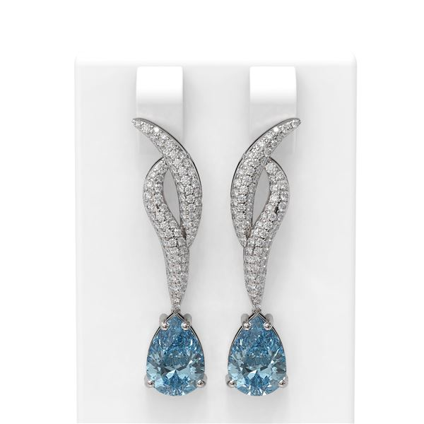 4.67 ctw Blue Topaz & Diamond Earrings 18K White Gold - REF-139K5Y