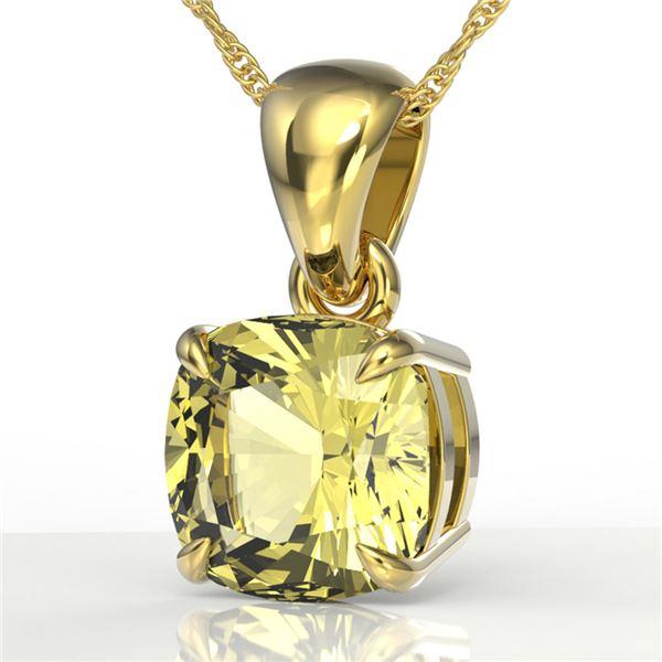 2 Cushion Cut ctw Sapphire Designer Solitaire Necklace 18k Yellow Gold - REF-21Y3X