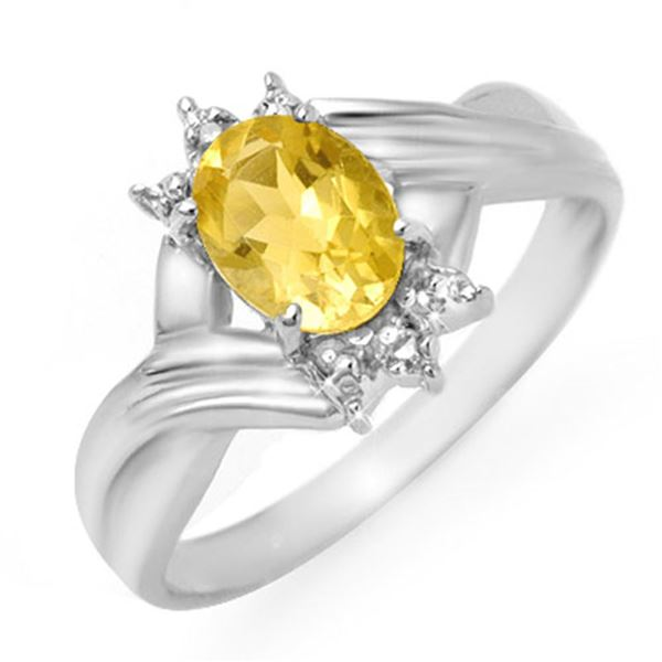 1.04 ctw Citrine & Diamond Ring 10k White Gold - REF-12N3F