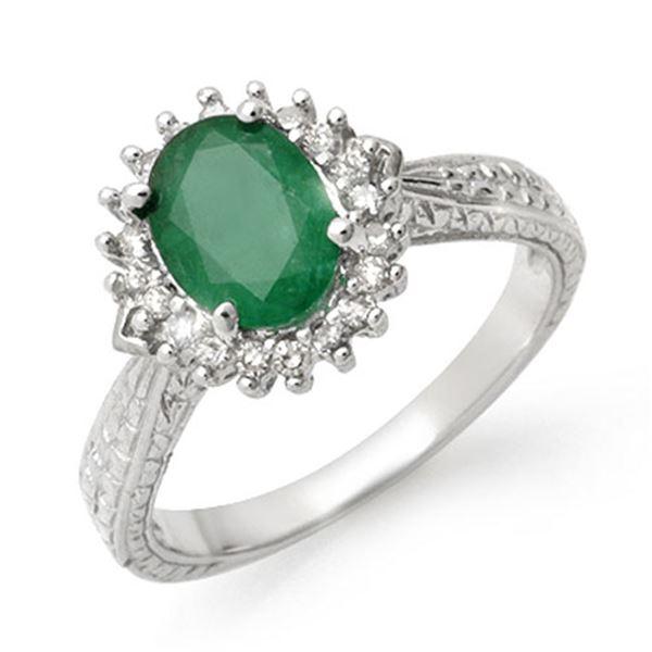 2.75 ctw Emerald & Diamond Ring 10k White Gold - REF-38X2A