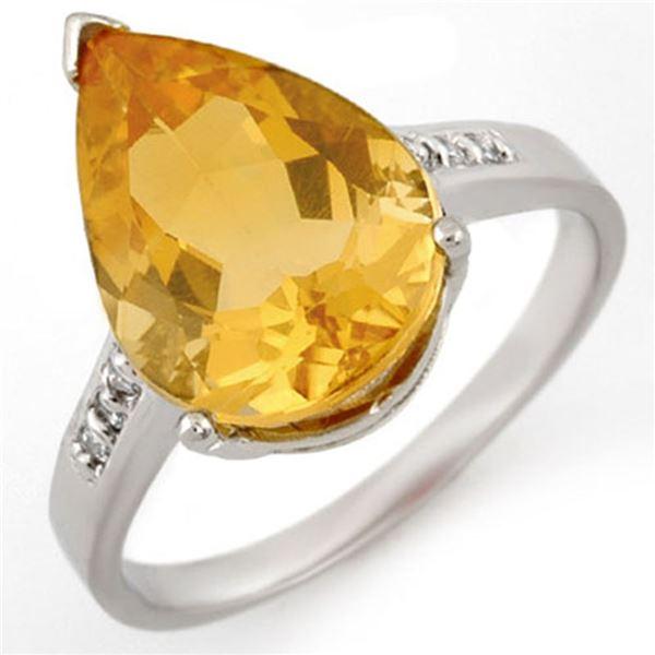 5.10 ctw Citrine & Diamond Ring 10k White Gold - REF-16Y4X