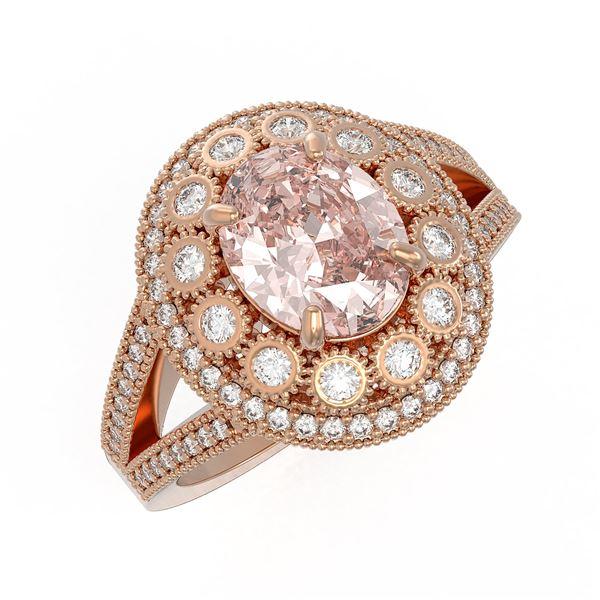3.95 ctw Certified Morganite & Diamond Victorian Ring 14K Rose Gold - REF-176X8A