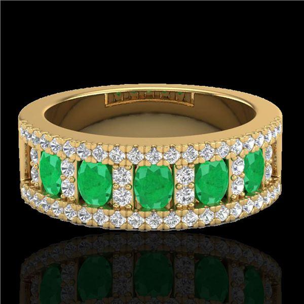 2.34 ctw Emerald & Micro Pave VS/SI Diamond Designer Ring 10k Yellow Gold - REF-55W2H