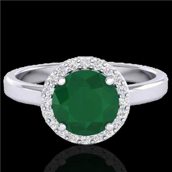 2 ctw Emerald & Halo VS/SI Diamond Micro Pave Ring 18k White Gold - REF-45Y3X
