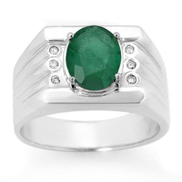 2.06 ctw Emerald & Diamond Men's Ring 10k White Gold - REF-40A9N