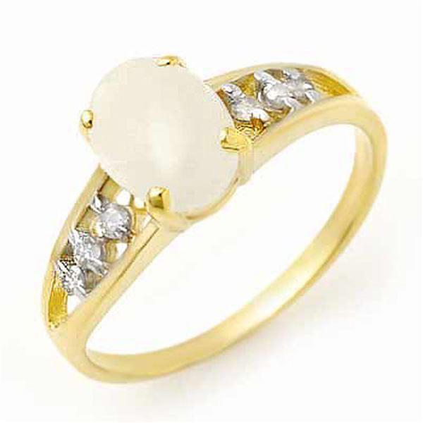 0.95 ctw Opal & Diamond Ring 10k Yellow Gold - REF-13A9N