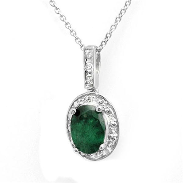 1.02 ctw Emerald & Diamond Pendant 14k White Gold - REF-10N9F
