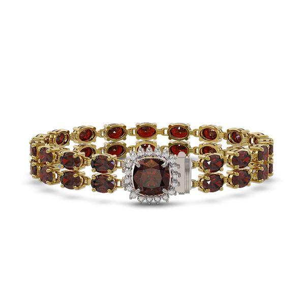 14.98 ctw Garnet & Diamond Bracelet 14K Yellow Gold - REF-178N2F