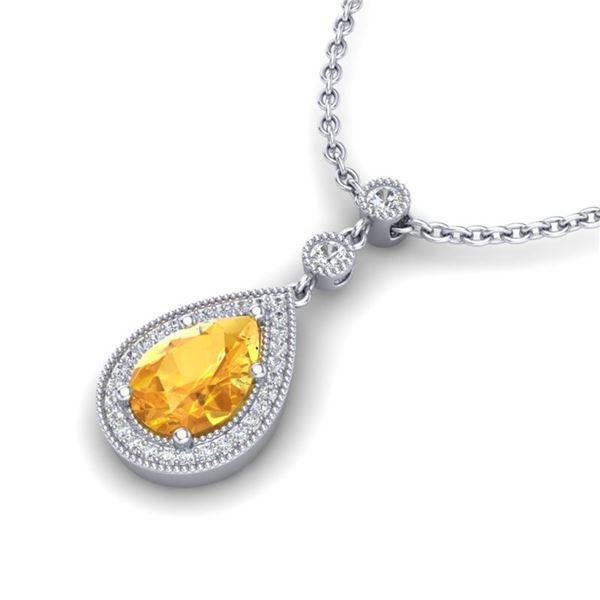 2.25 ctw Citrine & Micro Pave VS/SI Diamond Necklace 18k White Gold - REF-34A6N