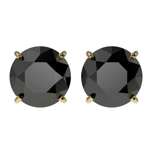 3.18 ctw Fancy Black Diamond Solitaire Stud Earrings 10k Yellow Gold - REF-60N3F