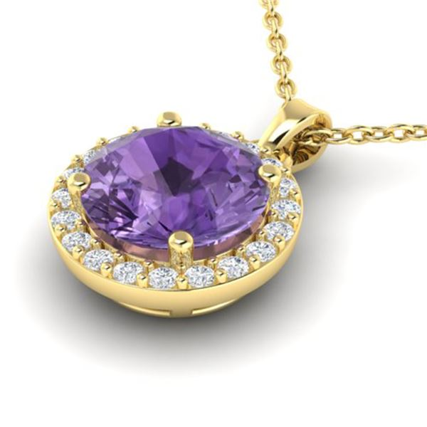 2 ctw Amethyst & Halo VS/SI Diamond Micro Pave Necklace 18k Yellow Gold - REF-30A4N