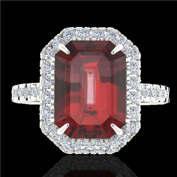 6.03 ctw Garnet & Micro Pave VS/SI Diamond Ring 18k White Gold - REF-48G3W