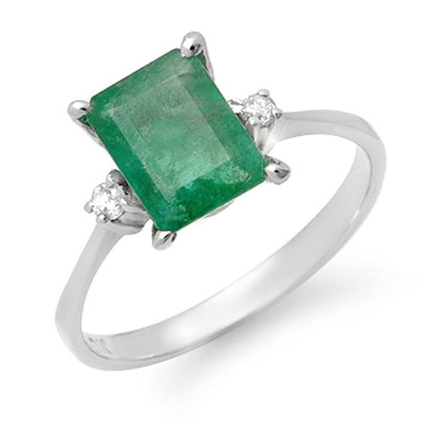 1.59 ctw Emerald & Diamond Ring 10k White Gold - REF-16H5R