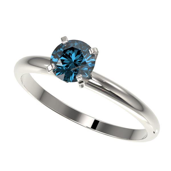 0.77 ctw Certified Intense Blue Diamond Engagment Ring 10k White Gold - REF-67M5G