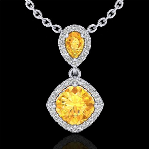 2.63 ctw Citrine & Micro VS/SI Diamond Necklace Designer 10k White Gold - REF-36Y6X
