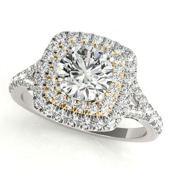 1.04 ctw Certified VS/SI Diamond Solitaire Halo Ring 18k 2Tone Gold - REF-101M2G