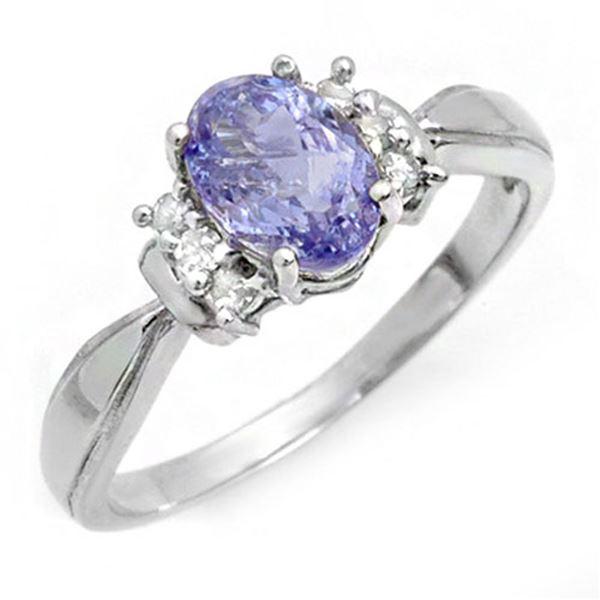 1.06 ctw Tanzanite & Diamond Ring 18k White Gold - REF-30H8R