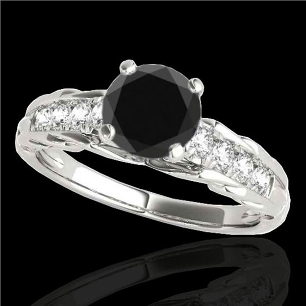 1.2 ctw Certified VS Black Diamond Solitaire Ring 10k White Gold - REF-43X6A