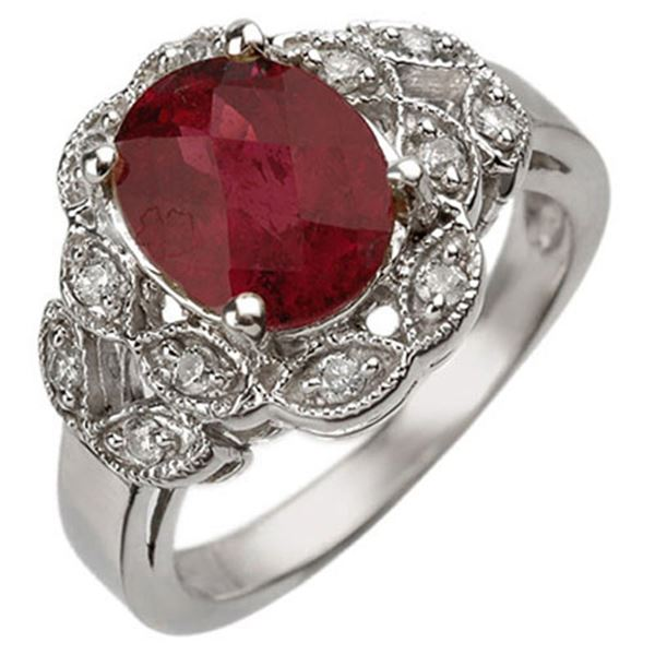 3.25 ctw Rubellite & Diamond Ring 10k White Gold - REF-54X8A