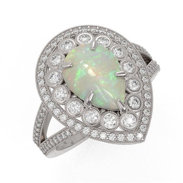 4.19 ctw Certified Opal & Diamond Victorian Ring 14K White Gold - REF-148K2Y