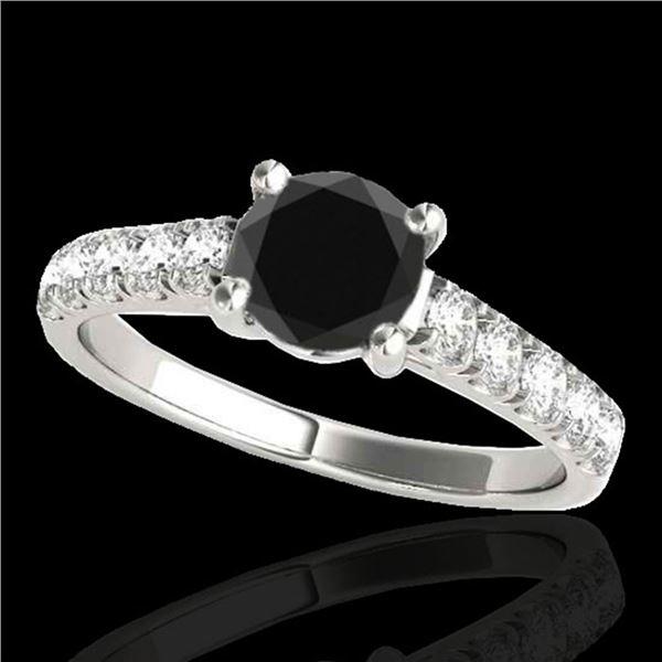 1.55 ctw Certified VS Black Diamond Solitaire Ring 10k White Gold - REF-43R8K
