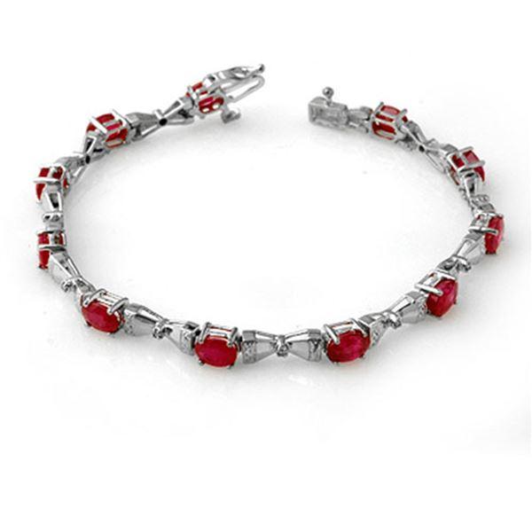 7.11 ctw Ruby & Diamond Bracelet 14k White Gold - REF-114H5R