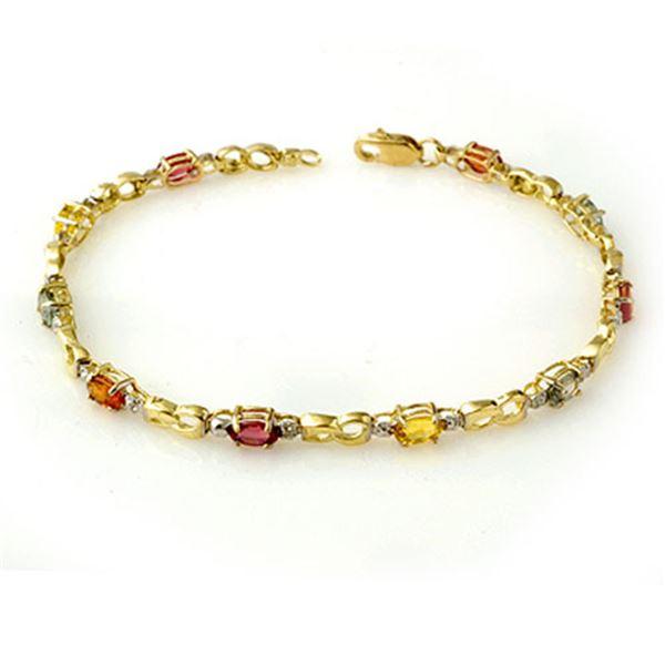 2.51 ctw Multi-Sapphire & Diamond Bracelet 10k Yellow Gold - REF-24A3N