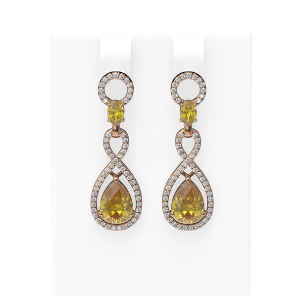 7.99 ctw Canary Citrine & Diamond Earrings 18K Rose Gold - REF-169X3A