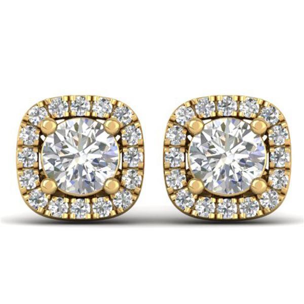 1.08 ctw Certified VS/SI Diamond Stud Halo Earrings 14k Yellow Gold - REF-103R3K