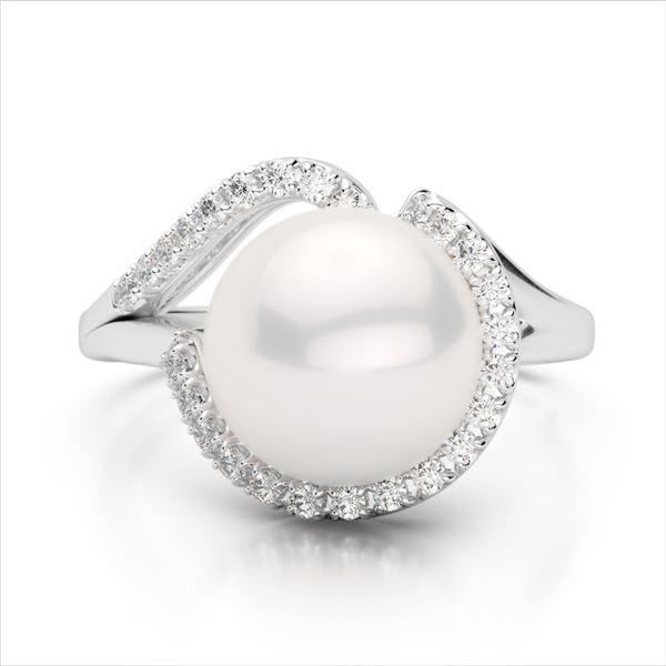 0.27 ctw VS/SI Diamond & Pearl Designer Ring 18k White Gold - REF-39N3F