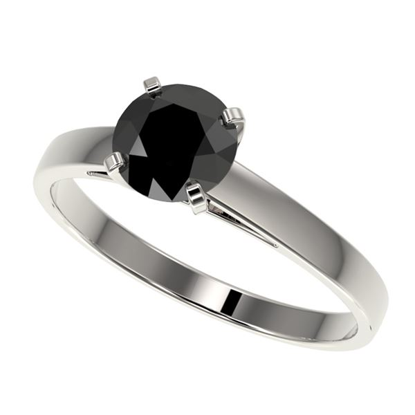 1.08 ctw Fancy Black Diamond Solitaire Engagment Ring 10k White Gold - REF-23K9Y