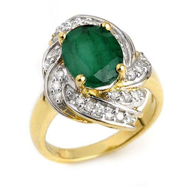 3.29 ctw Emerald & Diamond Ring 14k Yellow Gold - REF-55M2G