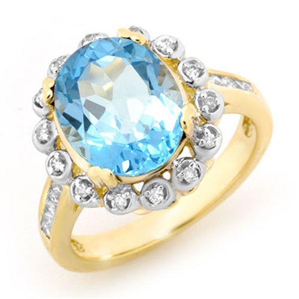 5.33 ctw Blue Topaz & Diamond Ring 10k Yellow Gold - REF-41R6K