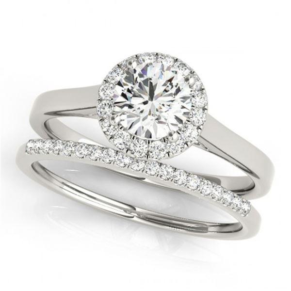 0.89 ctw Certified VS/SI Diamond 2pc Wedding Set Halo 14k White Gold - REF-101R8K