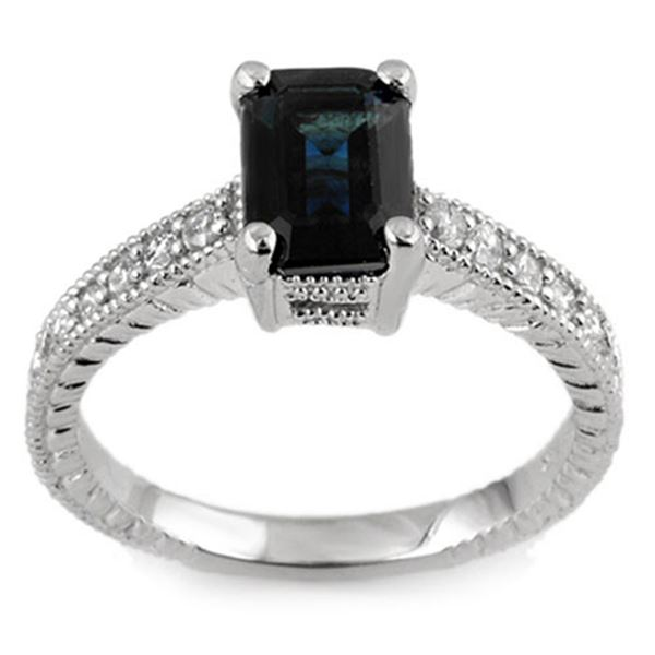 2.65 ctw Blue Sapphire & Diamond Ring 18k White Gold - REF-52F3M