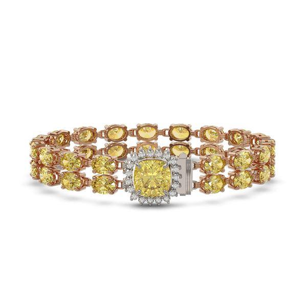 14.21 ctw Citrine & Diamond Bracelet 14K Rose Gold - REF-178K2Y