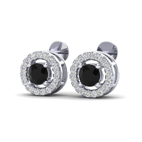0.75 ctw Micro Pave VS/SI Diamond Certified Earrings Halo 18k White Gold - REF-33A4N
