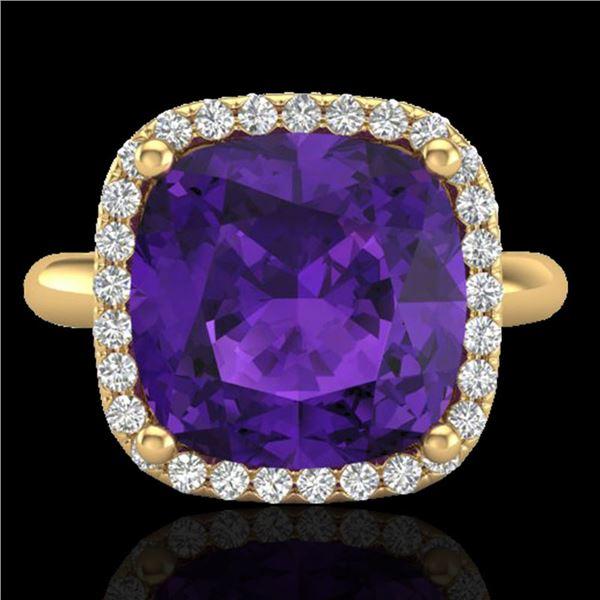 6 ctw Amethyst & Micro Pave Halo VS/SI Diamond Ring 18k Yellow Gold - REF-44H2R