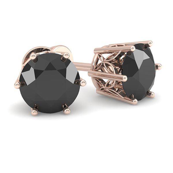 1.0 ctw Black Diamond Stud Art Deco Earrings 14k Rose Gold - REF-32H8R