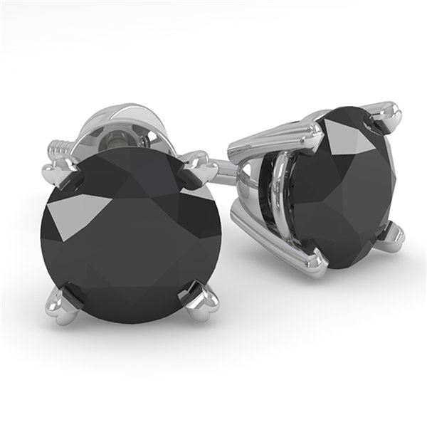 1.0 ctw Black Diamond Stud Designer Earrings 14k White Gold - REF-23X3A