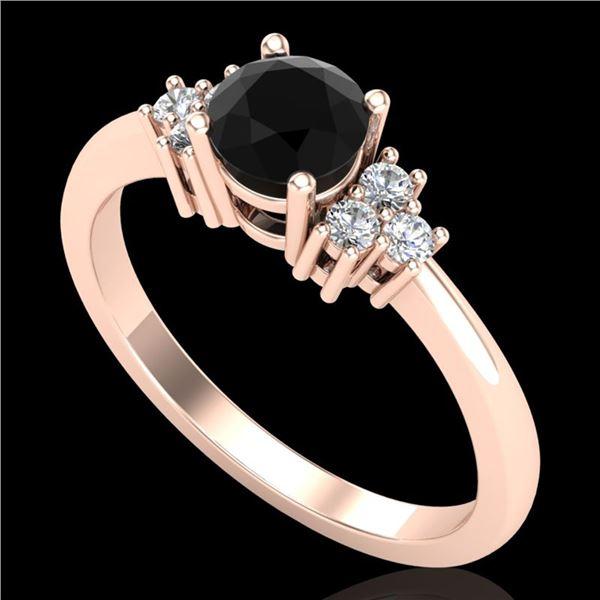 0.75 ctw Fancy Black Diamond Engagment Ring 18k Rose Gold - REF-55X2A