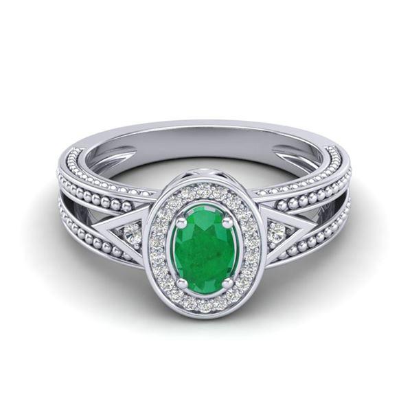 0.83 ctw Emerald & VS/SI Diamond Halo Fashion Ring 10k White Gold - REF-21H8R