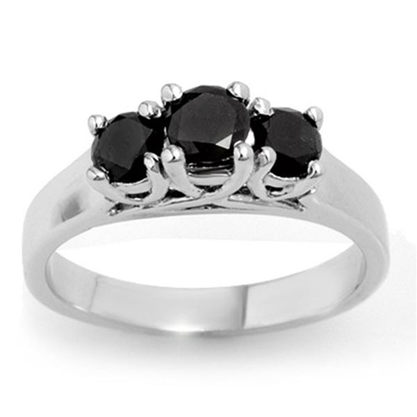 0.55 ctw VS Certified Black Diamond 3 Stone Ring 14k White Gold - REF-34G3W