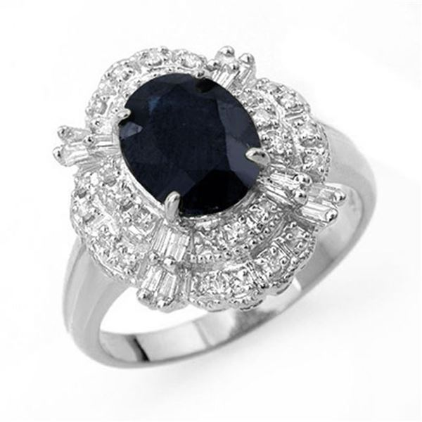 3.20 ctw Blue Sapphire & Diamond Ring 18k White Gold - REF-78H5R