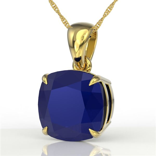 6 ctw Cushion Cut Sapphire Designer Solitaire Necklace 18k Yellow Gold - REF-49M3G