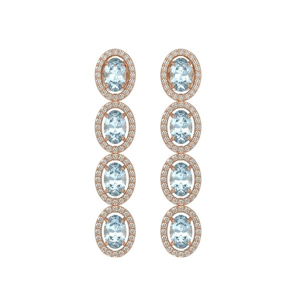 6.28 ctw Sky Topaz & Diamond Micro Pave Halo Earrings 10k Rose Gold - REF-143W6H