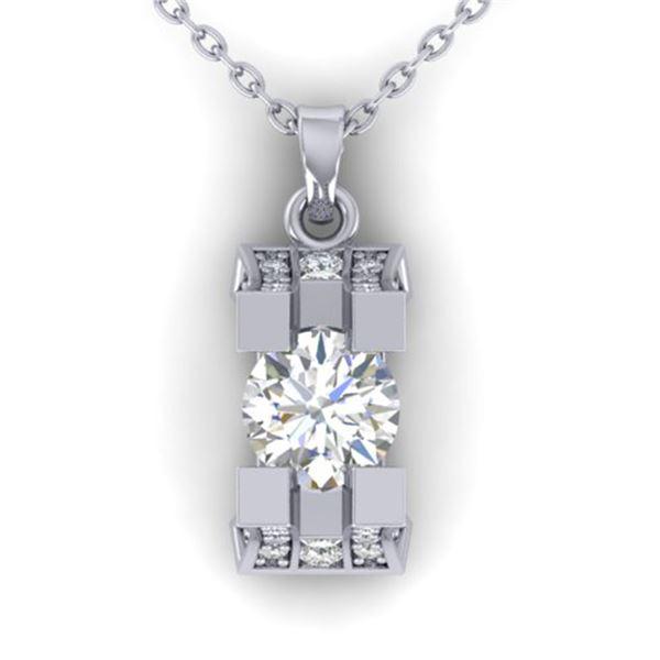 1.15 ctw VS/SI Diamond Art Deco Stud Necklace 14k White Gold - REF-143X6A