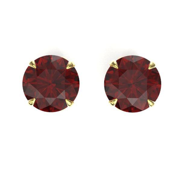 4 ctw Garnet Designer Solitaire Stud Earrings 18k Yellow Gold - REF-19M8G