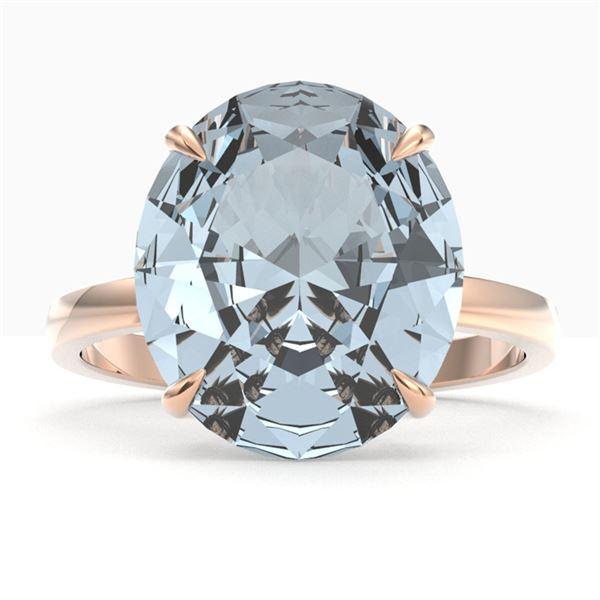 9 ctw Sky Blue Topaz Designer Engagment Ring 14k Rose Gold - REF-39H6R