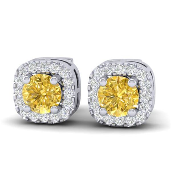 0.75 ctw Citrine & Micro Pave VS/SI Diamond Earrings Halo 18k White Gold - REF-33R4K